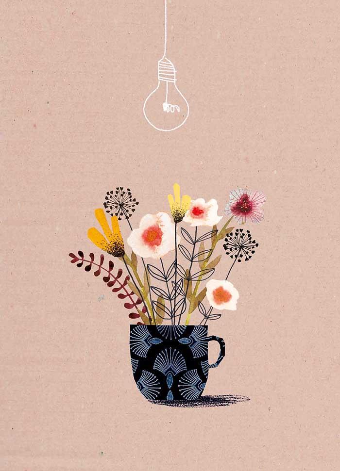 Bloemenkoffie - Onderdeel van collectie postkaartjes ©MariannevanderWalle