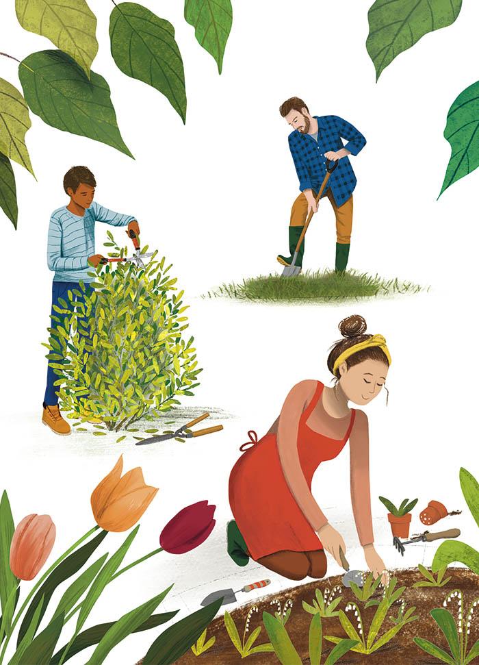 Marianne illustraties Groei en Bloei handgereedschap